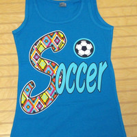 Ladies Jersey Tank Top Soccer Tribal