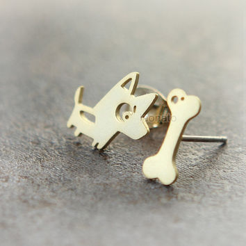 Doggy and Bone Earrings / choose your color, gold and silver