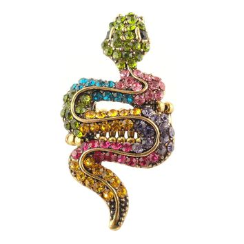 Vintage Multi-Colored Snake Rhinestone Adjustable Cocktail Party Ring