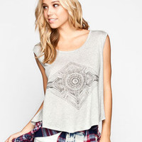 Full Tilt Boho Diamond Womens Swing Top Grey  In Sizes