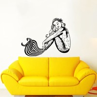 Mermaid Wall Decal Water Nymph Nature Fish Hair Beauty Sea Animal Wall Decals Vinyl Sticker Home Interior Wall Decor for Any Room Housewares Mural Design Graphic Bedroom Wall Decal Bathroom (5955)