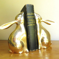 Vintage Brass Rabbit Bookends, Gold Bunny Book Ends, Pair of Bunnies, Heavy Bookends
