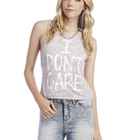 I Don't Care Burnout Tank | Wet Seal