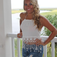 Bangles Boutique — WHITE LACE HALTER TOP