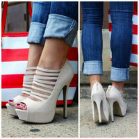 Walk The Line Natural Strappy Platform Heels