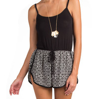 Bottom Printed Strappy Romper - Black