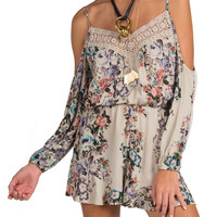 Cold Shoulder Crochet Trim Floral Romper