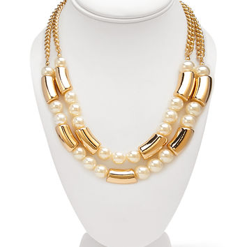 Layered Faux Pearl Necklace