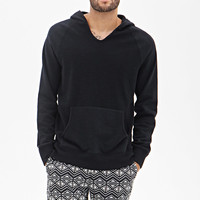 Textured Knit Hooded Pullover
