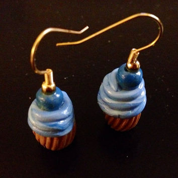Blueberry Swirl Cupcake Earrings made with Sculpey clay