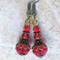 Red crystal beaded earrings bronze vintage casual jewelry