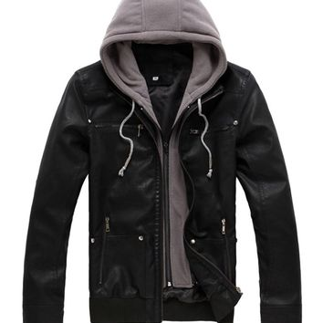West Street Haku Men's Motorcycle Hooded Leather Jacket