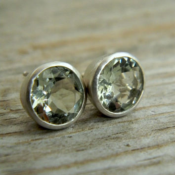 Mint Green Amethyst Prasioite 9mm Stud Earrings by onegarnetgirl