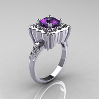 Modern Antique 950 Platinum 2.0 Carat Alexandrite Diamond Engagement Ring AR116-PLAT2AL