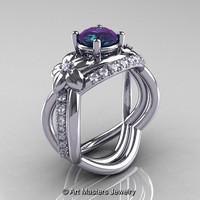 Nature Inspired 14K White Gold 2.0 Ct Alexandrite Diamond Leaf and Vine Wedding Ring Set R180S-14KWGD2AL