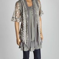 Gray & White Ruffle Silk-Blend Blouse | zulily