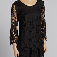 Black Crochet Silk-Blend Tunic | zulily