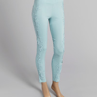 Aqua Embellished Linen-Blend Leggings | zulily