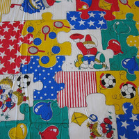 Novelty Vintage Fabric - Large Puzzle Pieces in Primary Colors - 2 YARDS