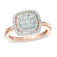 1/2 CT. T.W. Diamond Cluster Frame Ring in 10K Rose Gold