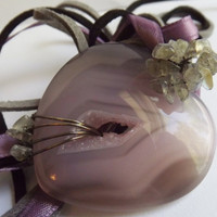 Purple Agate Drusy Heart stone wire wrapped by DreamingWhimsies