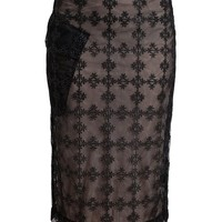 SIMONE ROCHA | Net Pencil Skirt with Floral Embroidery | Browns fashion & designer clothes & clothing