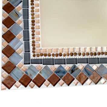 Brown and Gray Mosaic Wall Mirror // Geometric Home Decor