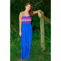 Party By The Poolside Maxi Dress-Royal