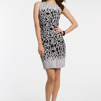 Sleeveless Two-Tone Stretch Knit Dress