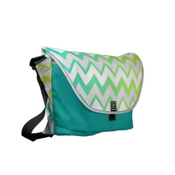 Chevron lime teal aqua ombre Messenger bag