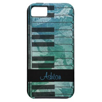 Piano Green Blue Butterfly Personalize iPhone Case