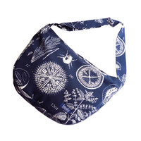 White blue bike messenger bag with insect and nature pattern 1.1 BASIC COLLECTION