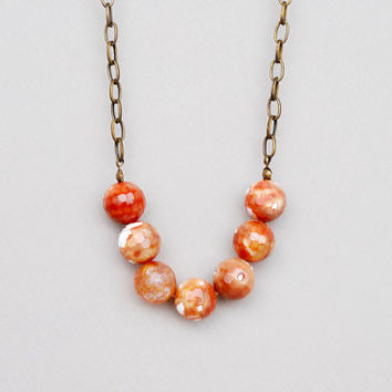 Orange Necklace / Red Crab Agate Necklace / Natural Stones Necklace / Rusted Orange Necklce