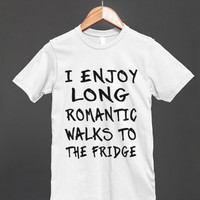 i enjoy romantic long walks to the fridge blk/wht | Fitted T-shirt | Skreened