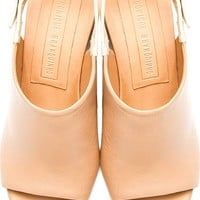 Nude Leather Slingback Mule