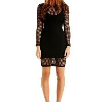Black Bodycon Long Sleeve Fishnet Dress