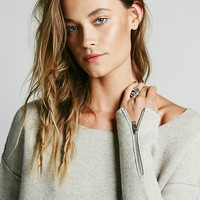 Free People Womens Scuba Solid Pullover - Oatmeal,