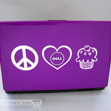 Peace Love Cupcake Vinyl Laptop Art FREE Shipping by showcase66