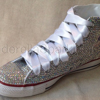 White Chuck Taylor High-Tops Crystal Rhinestone Converse - Bridal Prom Romany