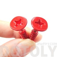 3D Fake Gauge Realistic Nuts and Bolts Screw Stud Earrings Bright Red