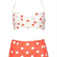 Coral and Cream Spot Bikini - Coral