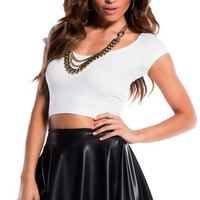 White Fitted Crop Top