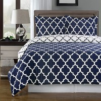Navy and White Meridian 3-piece Full / Queen Comforter Cover (Duvet-Cover-Set) 100 % Egyptian Cotton 300 TC