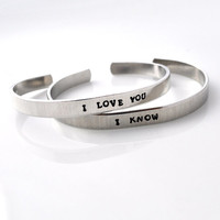 Personalized Metal Cuff Bracelet, Custom Bracelet, Aluminum Cuff Hand Stamped Bracelet, I Love You, | Luulla