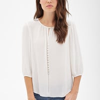 Sheer Keyhole Peasant Top