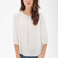 LOVE 21 Sheer Keyhole Peasant Top