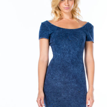 Double Scoop Acid Wash Bodycon Dress