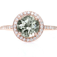 Rose Gold Green Amethyst Ring Diamond Halo Engagement Ring 14K White Yellow or Rose Gold Custom Bridal Jewelry