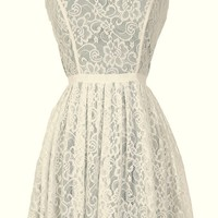 Lily Boutique Effortlessly Enchanting A-Line Lace Dress in Ivory/Green - WHAT'S NEW Lily Boutique