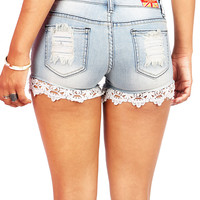 Crochet Trail Shorts | Trendy Denim Shorts at Pink Ice